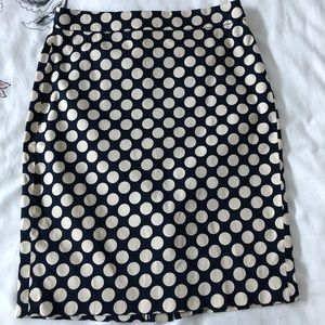 Navy and Cream Dot Pencil Skirt